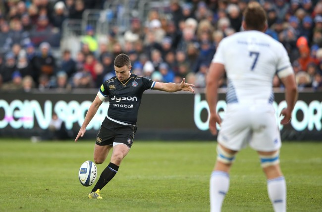 BATH, ENGLAND - NOVEMBER 21: George Ford of Bath drops a goal during the European Rugby Champions Cup match between Bath and Leinster at the Recreation Ground on November 21, 2015 in Bath, England. (Photo by David Rogers/Getty Images)