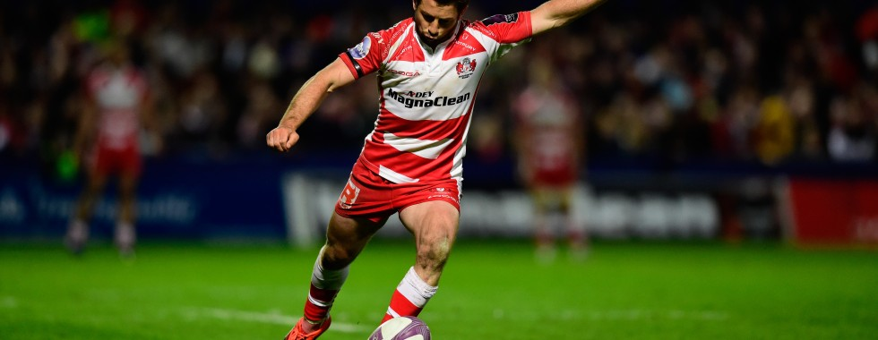 GLOUCESTER, ENGLAND - APRIL 18: Greig Laidlaw of Gloucester kicks at goal during the European Rugby Challenge Cup semi final match between Gloucester Rugby and Exeter Chiefs at Kingsholm Stadium on April 18, 2015 in Gloucester, England. (Photo by Stu Forster/Getty Images)