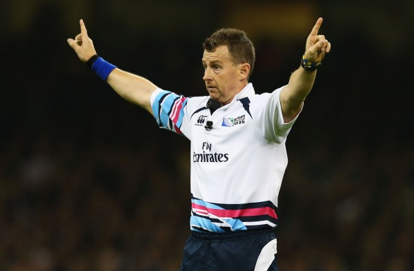 CARDIFF, WALES - OCTOBER 17: Referee Nigel Owens signals during the 2015 Rugby World Cup Quarter Final match between New Zealand and France at the Millennium Stadium on October 17, 2015 in Cardiff, United Kingdom. (Photo by Matt Lewis - World Rugby/World Rugby via Getty Images)