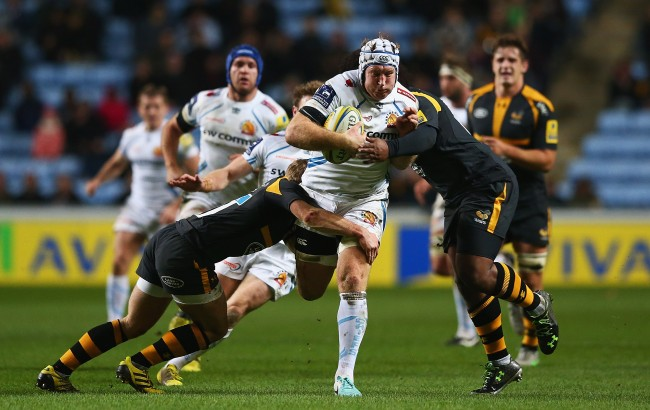 COVENTRY, ENGLAND - DECEMBER 05: Thomas Waldrom of Exeter Chiefs makes a break during the Aviva Premiership match between Wasps and Exeter Chiefs at the Ricoh Arena on December 4, 2015 in Coventry, England. (Photo by Matthew Lewis/Getty Images)