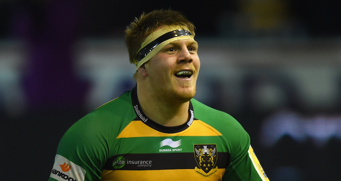 NORTHAMPTON, ENGLAND - NOVEMBER 27: Paul Hill of Northampton Saints during the Aviva Premiership match between Northampton Saints and Gloucester Rugby at Franklin's Gardens on November 27, 2015 in Northampton, England. (Photo by Shaun Botterill/Getty Images)