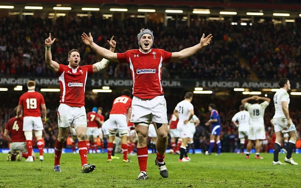 Wales v England - RBS Six Nations...CARDIFF, WALES - MARCH 16: Jonathan Davies and Alex Cuthbert (L) of Wales celebrate winning the Championship after the RBS Six Nations match between Wales and England at Millennium Stadium on March 16, 2013 in Cardiff, Wales. (Photo by Michael Steele/Getty Images)