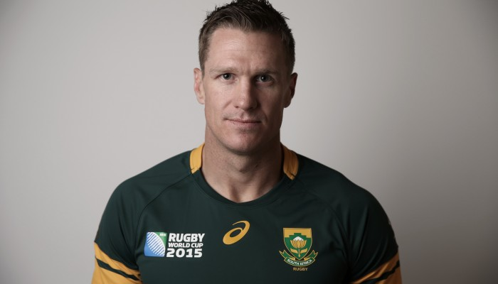 EASTBOURNE, ENGLAND - SEPTEMBER 13: (Editor's Note: Digital filters were used on this image) Jean De Villiers of South Africa poses for a portrait during the South Africa Rugby World Cup 2015 squad photo call at the Grand Hotel on September 13, 2015 in Eastbourne, England. (Photo by Steve Bardens - World Rugby/World Rugby via Getty Images)