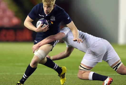 05/02/16 2016 U20 MEN'S SIX NATIONS SCOTLAND v ENGLAND BROADWOOD - CUMBERNUALD Scotland's Andrew Davidson (left) is challenged by Stan South