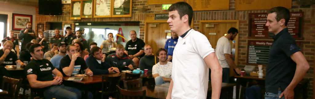 Triathletes Jonny and Alistair Brownlee talk to the Saracens squad after Saracens Training at Old Albanians RFC, St Albans - 11/10/2016 ©Matthew Impey / Wired Photos Picture by Matt Impey +44 7789 130347