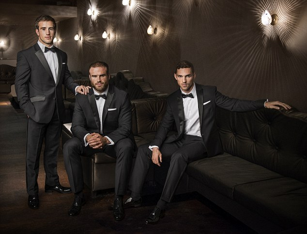 Welsh rugby players l/r Matthew Morgan, Jamie Roberts and George North. RWC 2015 Pic Andy Hooper