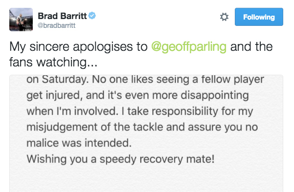 Barritt showed his sportsmanship with a heartfelt apology on Twitter