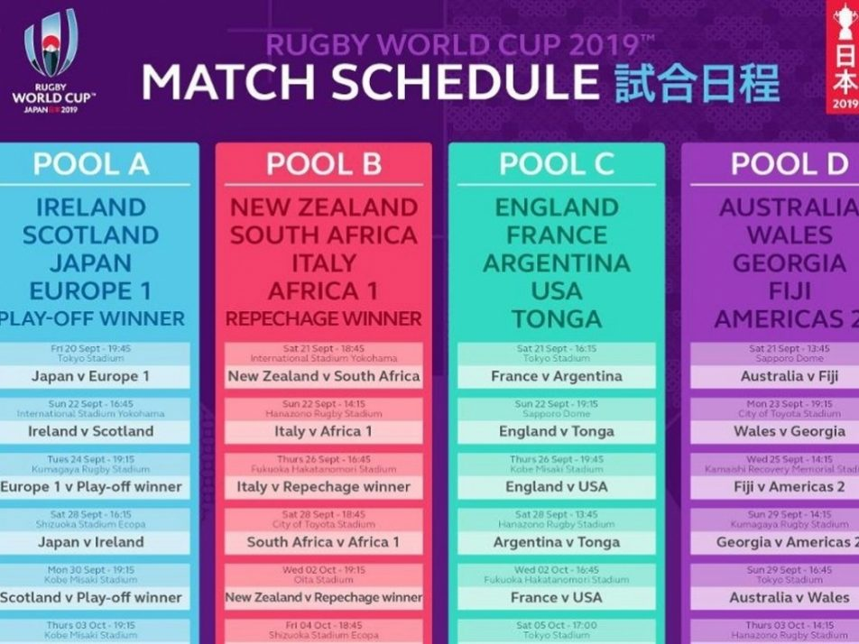 Click here for the full Rugby World Cup 2019 match schedule.