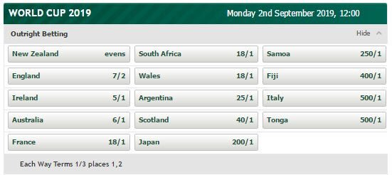 Rugby world cup 2019 betting odds zac efron bet on it pokemon gl