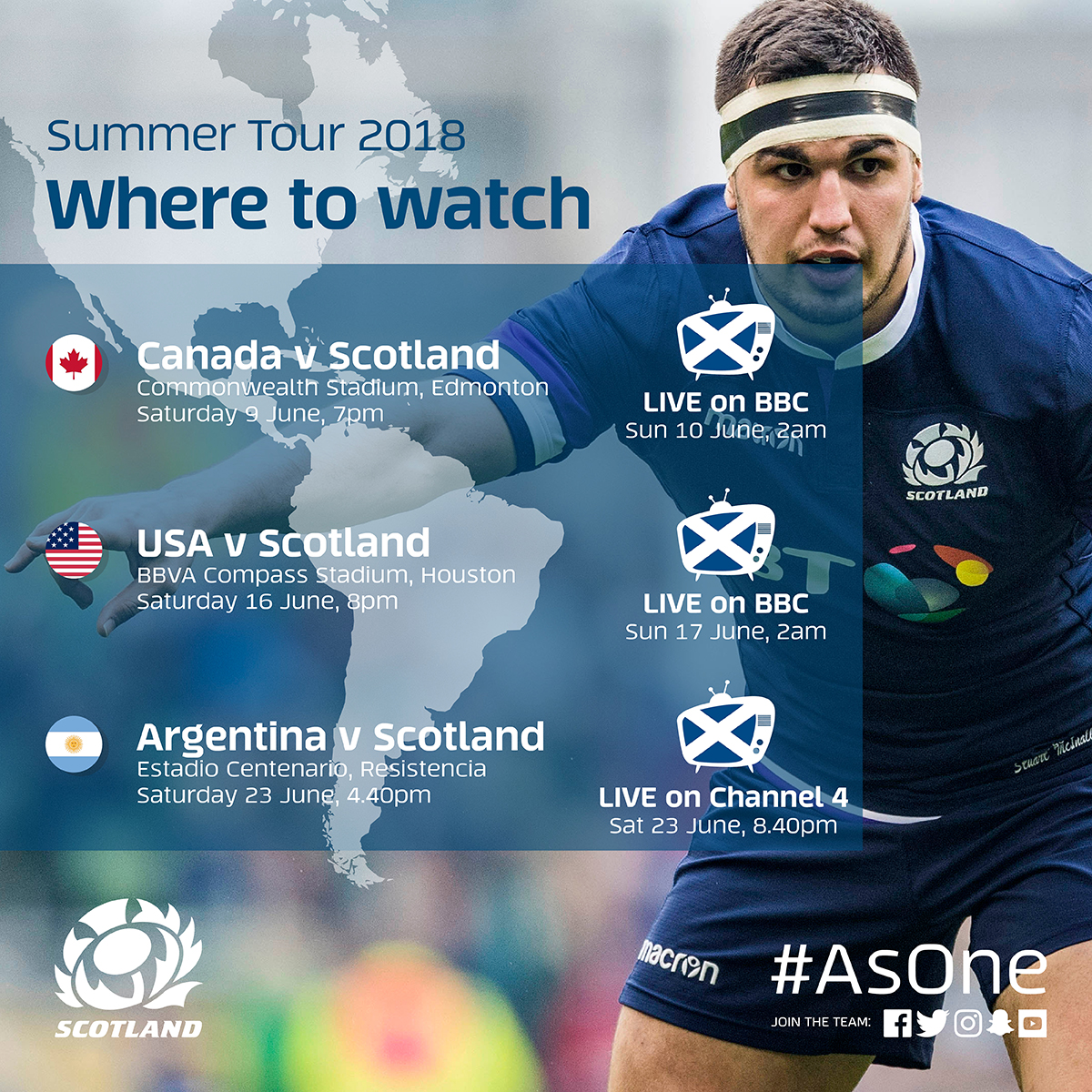 Scotland's whole summer tour to be shown on free-to-air TV