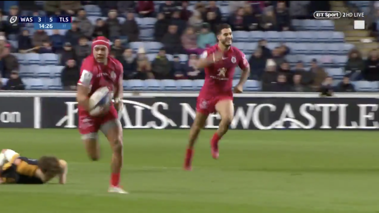 watch toulouse go 60 meters for the try before wasps knew what hit them ruck. Black Bedroom Furniture Sets. Home Design Ideas